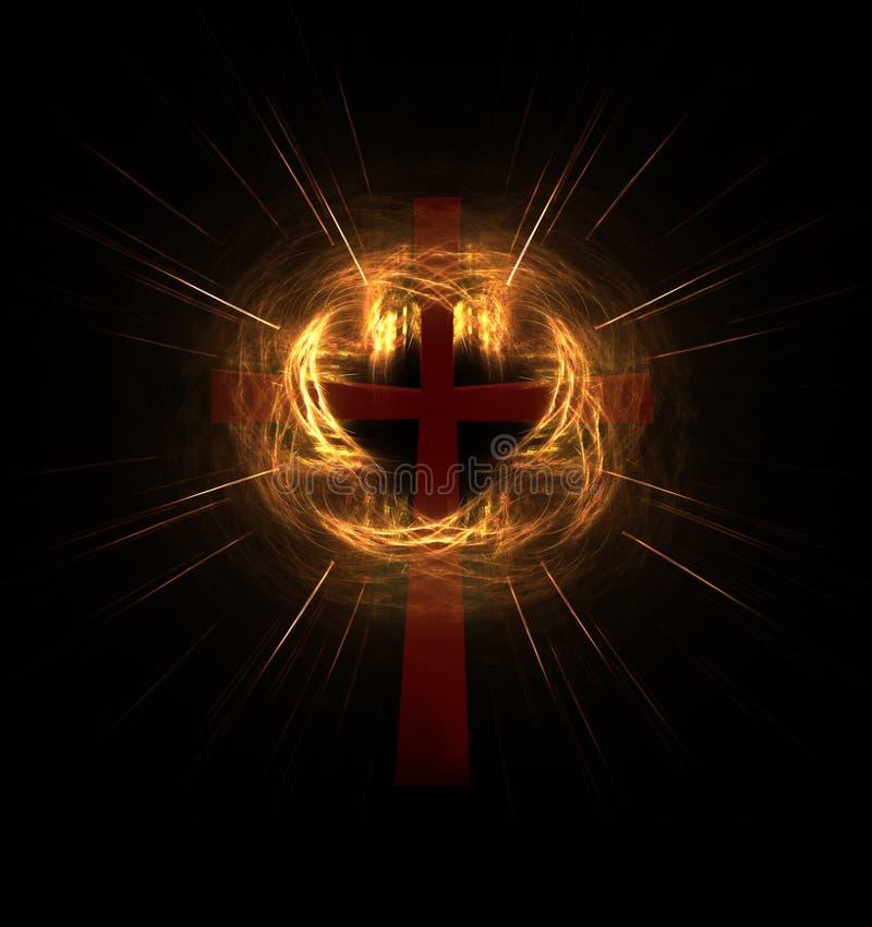 Croix dans un nuage de lumière radiante illustration de vecteur