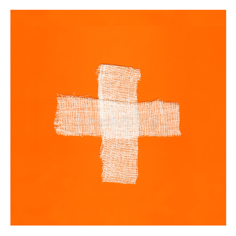 croix de bandages formant le blanc de l'orange deux photo libre de droits