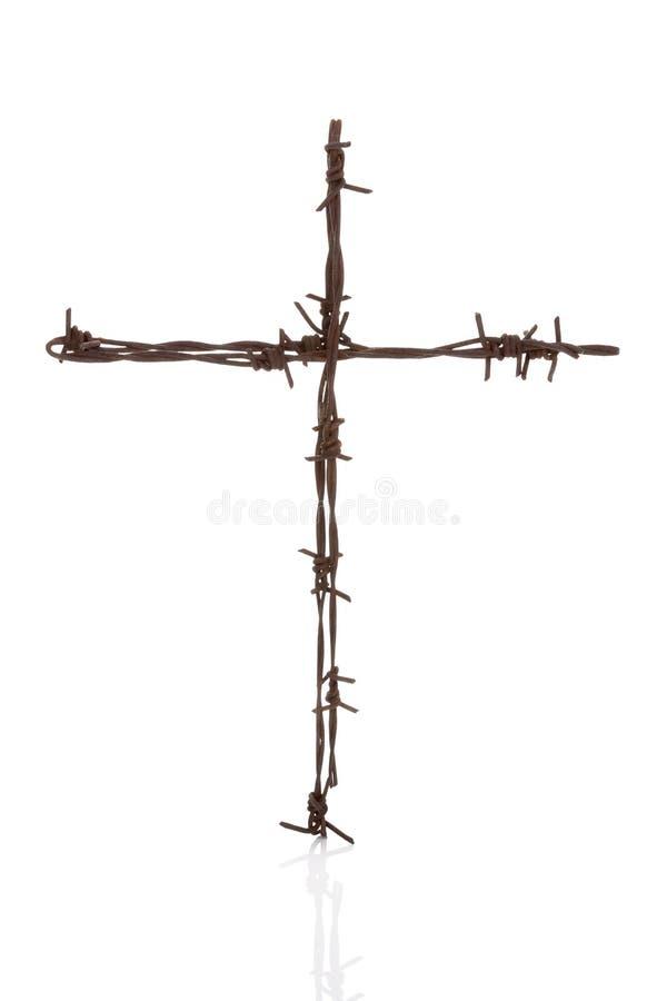 Croix de Barbwire d'isolement au-dessus du blanc photos libres de droits