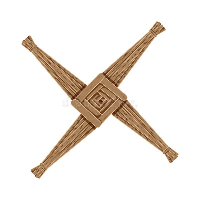 Croix de Brigids faite de paille brune Élément d'isolement par symbole païen de Wiccan illustration de vecteur