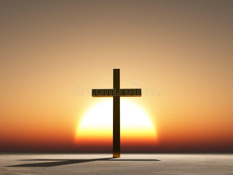 Croix de coucher du soleil ou de lever de soleil illustration stock