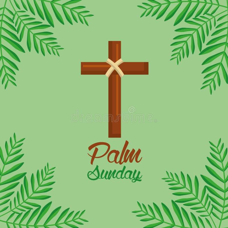 Croix de dimanche de paume et fond vert de fronde illustration libre de droits