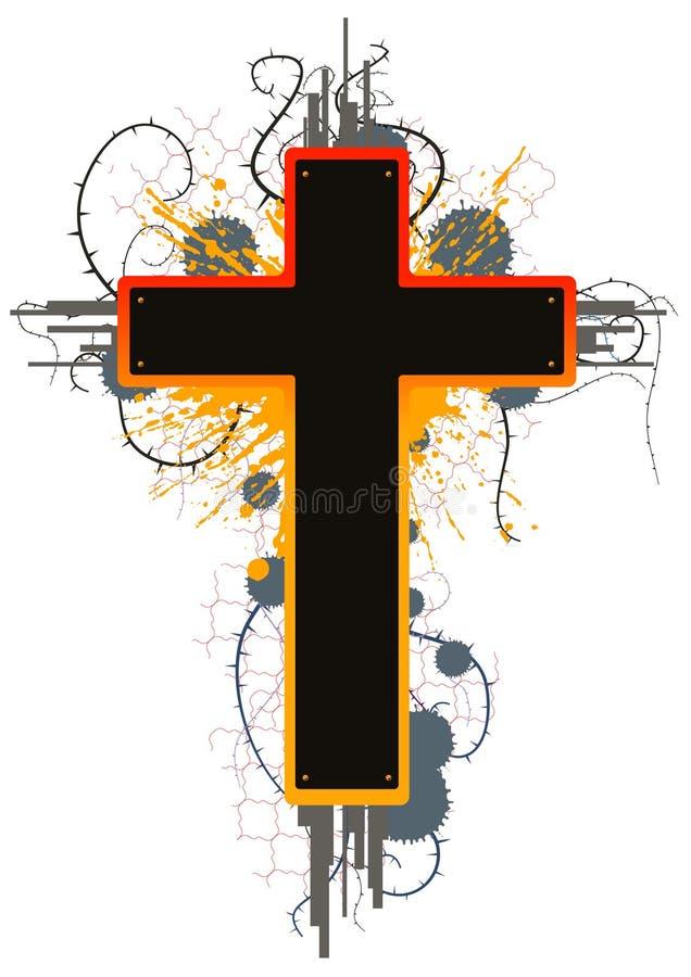Croix de grunge de couleur illustration de vecteur