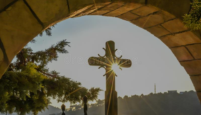 Croix de Jésus-Christ Croix orthodoxe serbe Pâques, concept de résurrection photo libre de droits