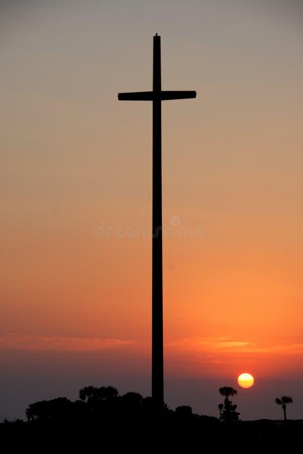 Croix de Nombre de Dios au coucher du soleil photos libres de droits