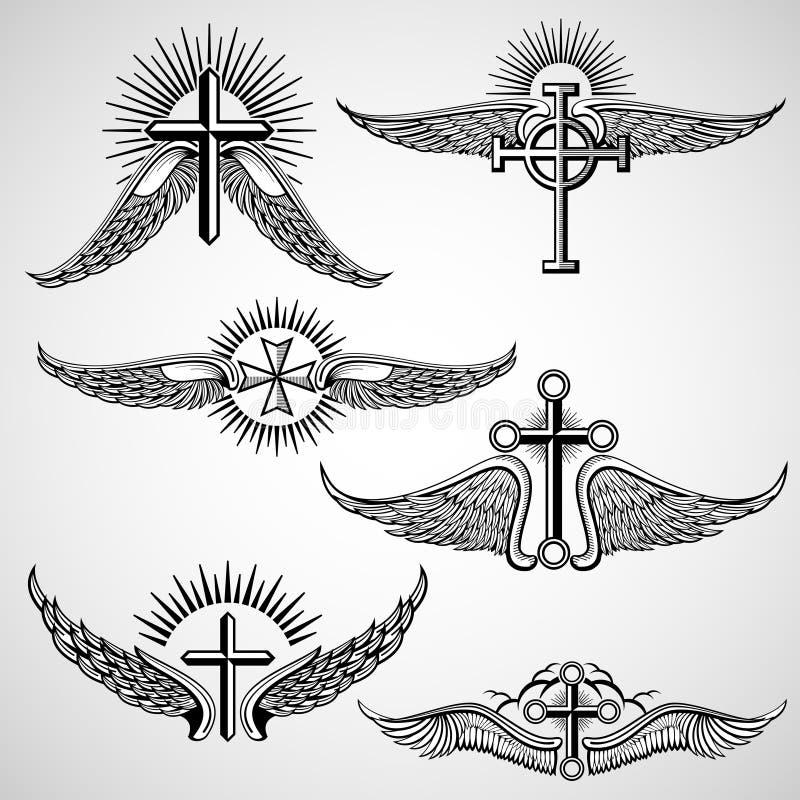 Croix de vintage et éléments de vecteur de tatouage d'ailes illustration libre de droits