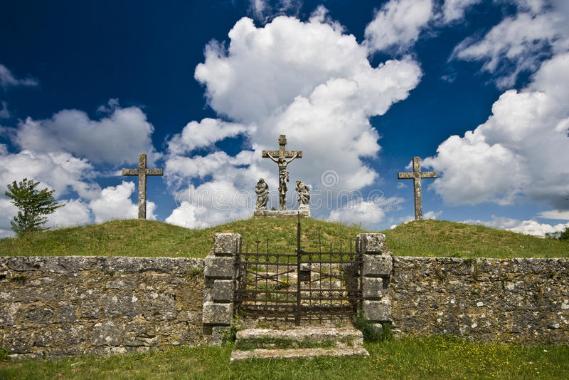Croix du calvaire dans Zminj photos stock