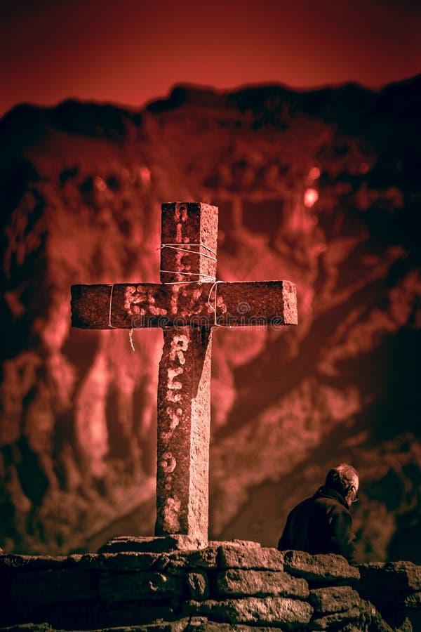 Croix en canyon de Colca photo libre de droits