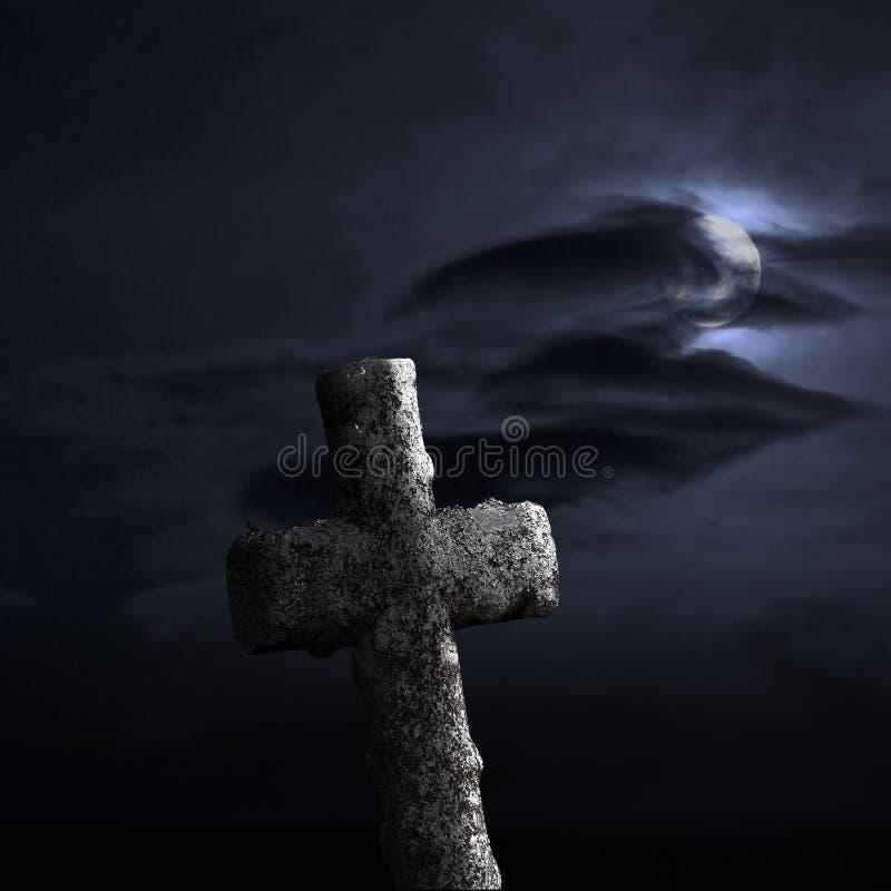 Download Croix En Pierre Sur Le Ciel Dramatique Image stock - Image du chrétien, lune: 45358789