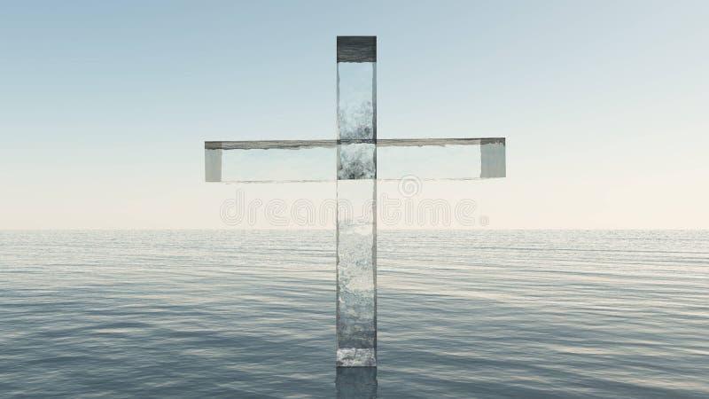 Croix en verre en mer illustration stock