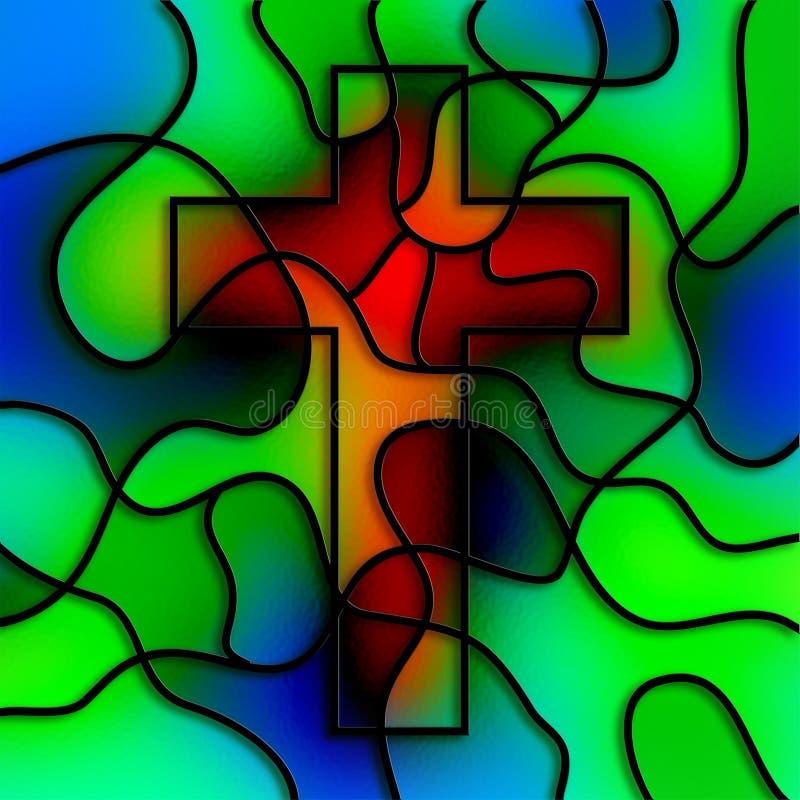 Croix en verre souillé illustration de vecteur