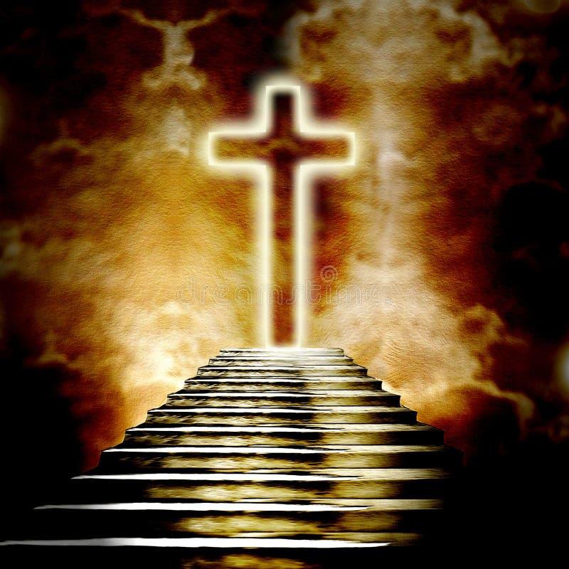 Croix et escalier saints rougeoyants menant au ciel illustration libre de droits
