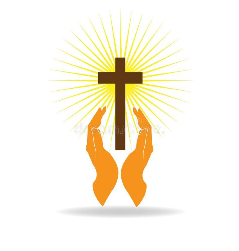 Croix et mains illustration libre de droits