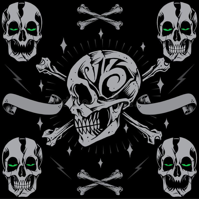 Croix et ruban d'os de crânes illustration stock