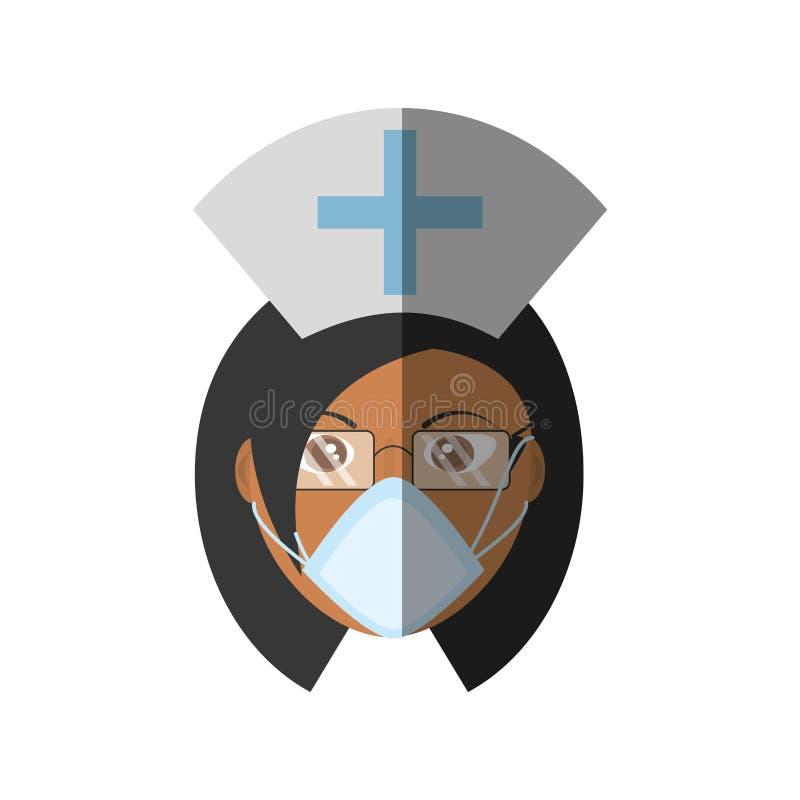 croix femelle de chapeau de personnel médical de masque de docteur illustration de vecteur