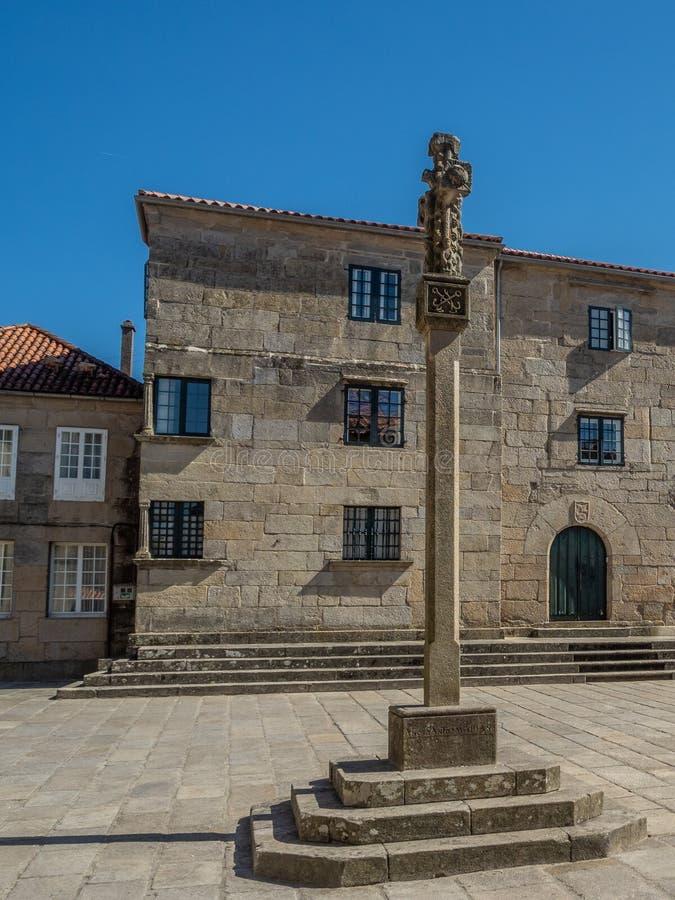 Croix galicienne en pierre dans un style très fleuri découpée la Galicie pontevedra Espagne photographie stock libre de droits