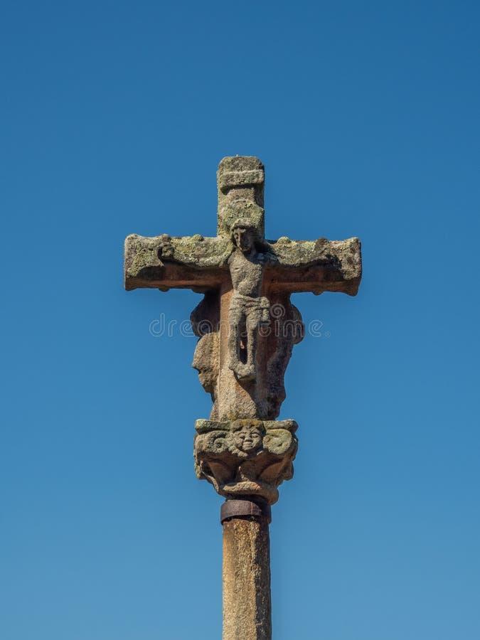 Croix galicienne en pierre dans un style très fleuri découpée la Galicie pontevedra Espagne image stock
