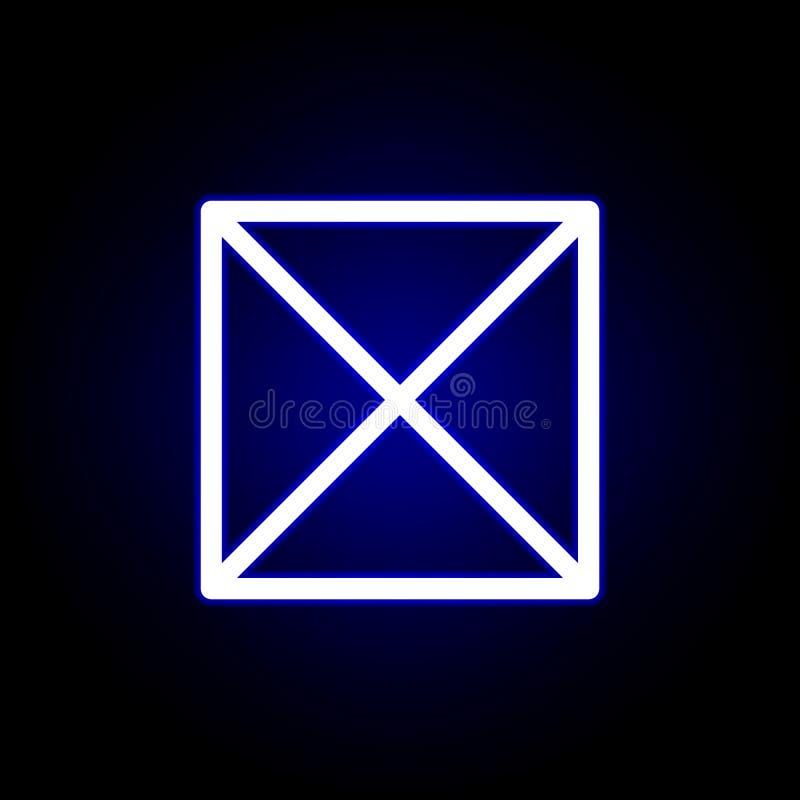 Croix, icône de suppression dans le style au néon Peut ?tre employ? pour le Web, logo, l'appli mobile, UI, UX illustration stock