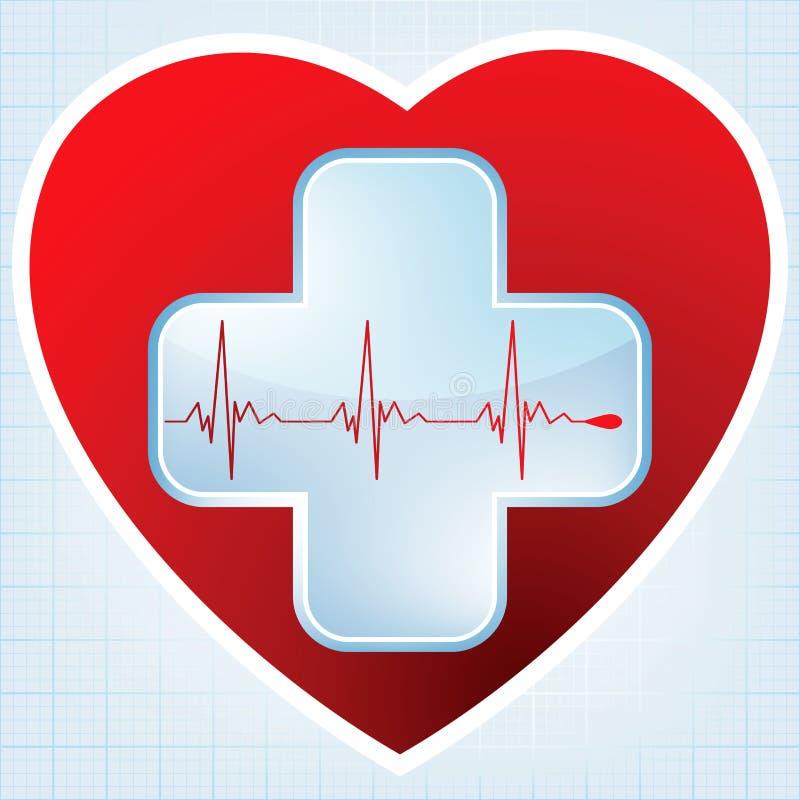 Croix médicale de coeur. ENV 8 illustration stock