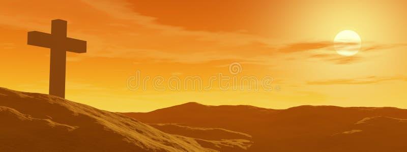 Croix par coucher du soleil illustration de vecteur