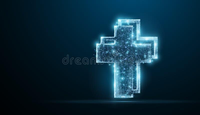 Croix Croix polygonale de Jésus-Christ de wireframe sur le ciel nocturne bleu avec des points, étoiles illustration de vecteur