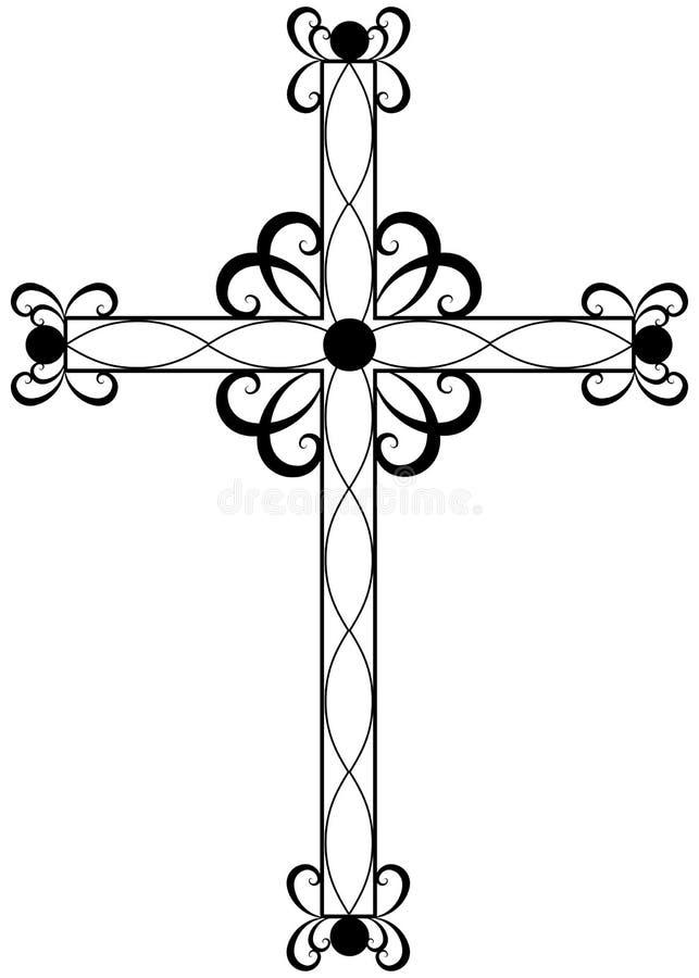 Croix religieuse fleurie traditionnelle illustration libre de droits