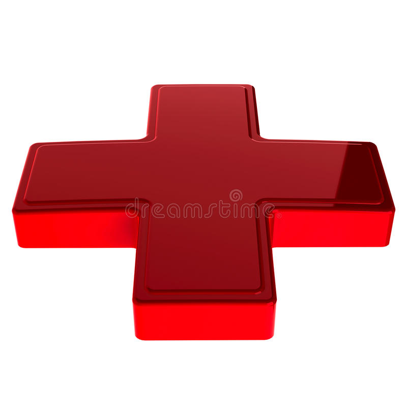Croix-Rouge 3d lustrée images libres de droits