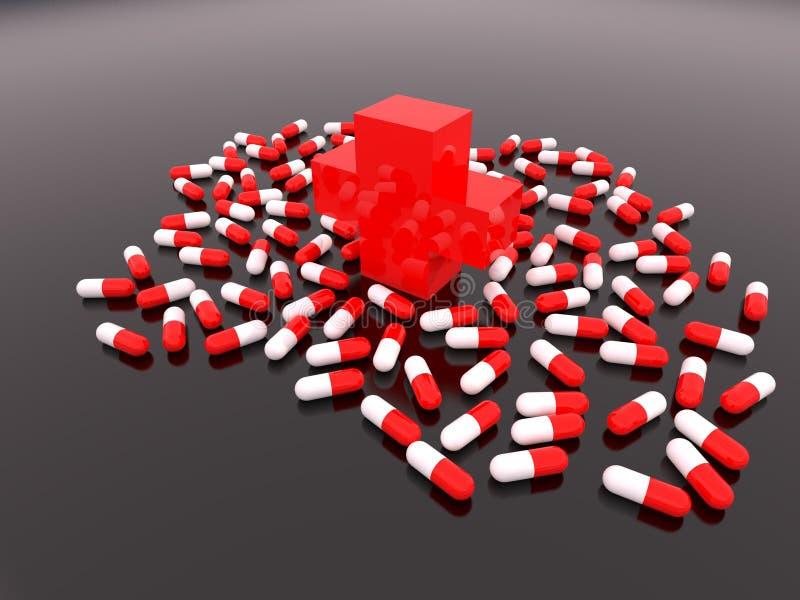 Croix-Rouge avec des comprimés de dispersion illustration stock