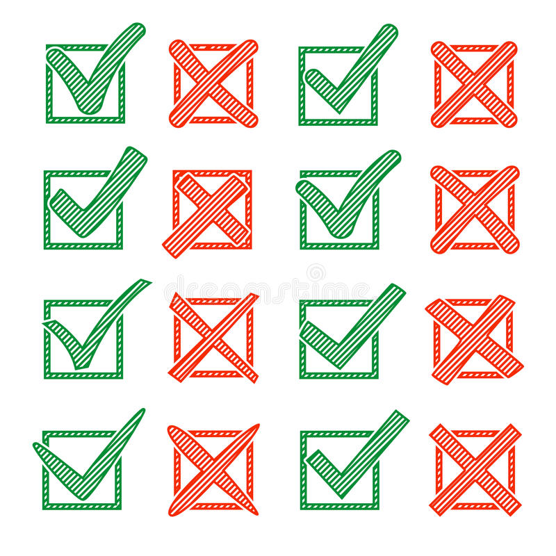 Croix-Rouge X et crochet vert V avec la hachure, dans le checkbox Oui aucune icônes pour la sélection de point culminant Ensemble illustration stock