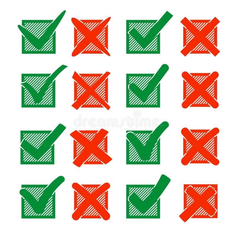 Croix-Rouge X et crochet vert V, en hachurant la case à cocher Oui aucune icônes pour la sélection de point culminant Ensemble de illustration de vecteur