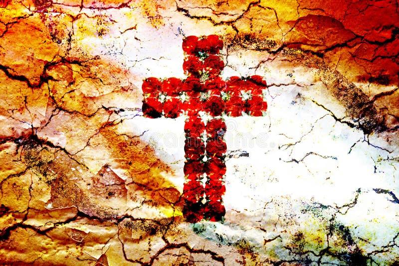 Croix-Rouge et nuages illustration stock