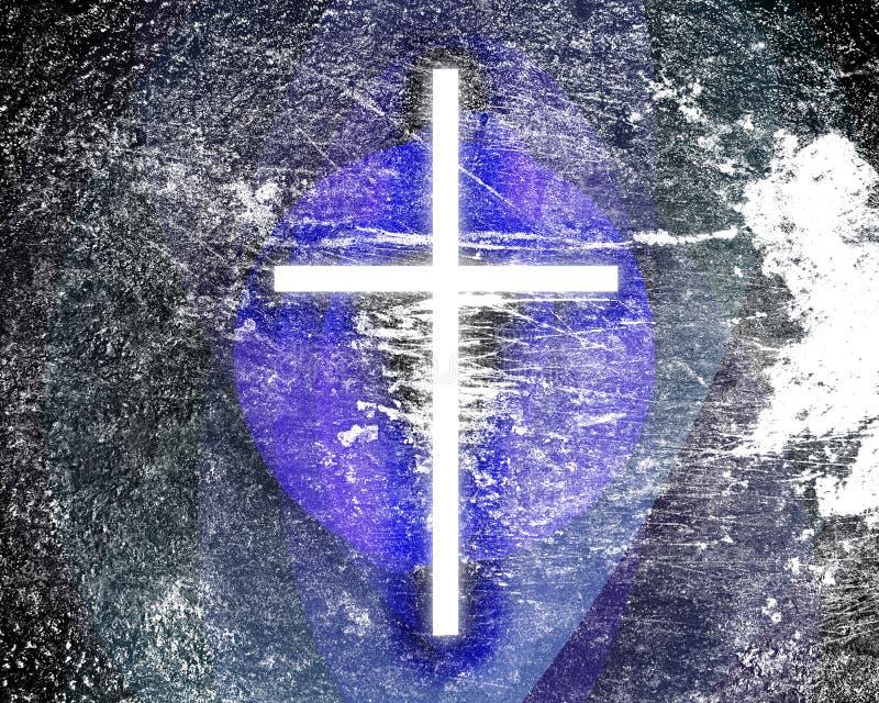 Croix rougeoyante grunge illustration libre de droits