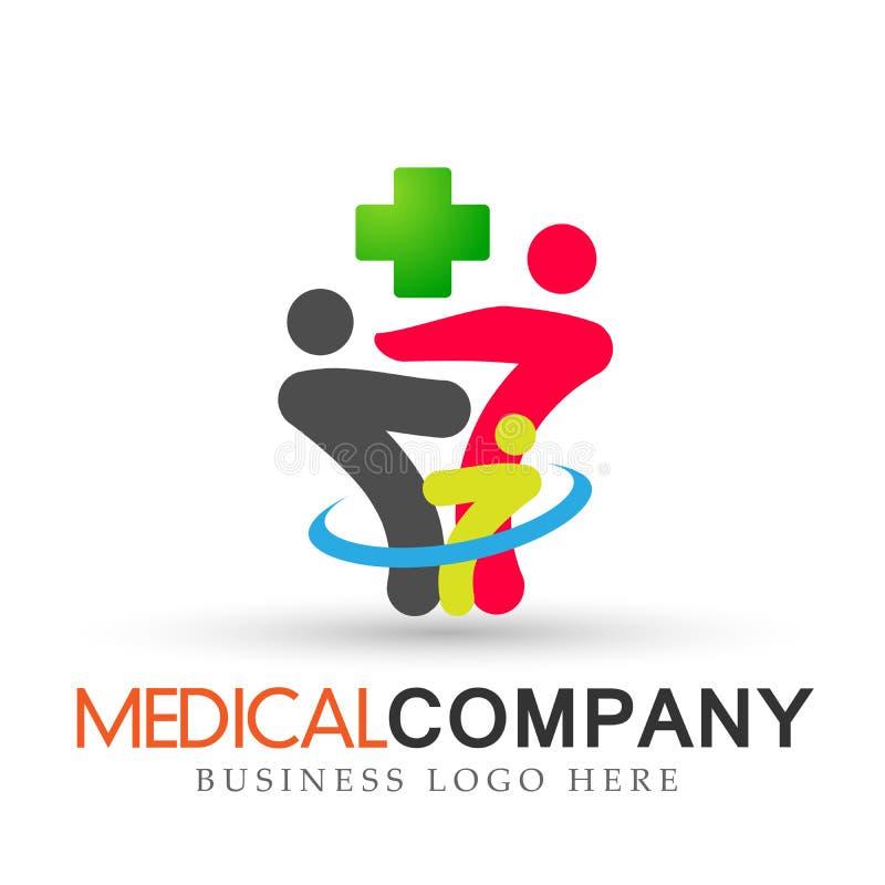 Croix saine médicale de famille dans le vecteur vert de conception d'icône de symbole de soin de parenting d'amour de logo d'enfa illustration de vecteur
