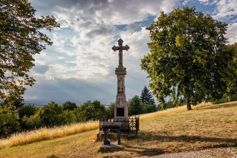 Croix sur la colline sainte près d'Olomouc images stock