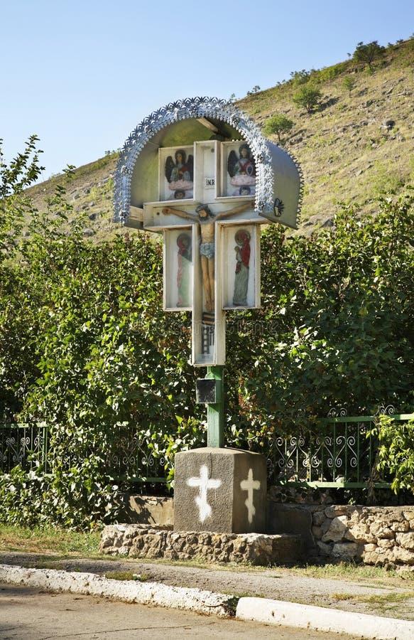 Croix sur la route Trebujeni moldau photos libres de droits
