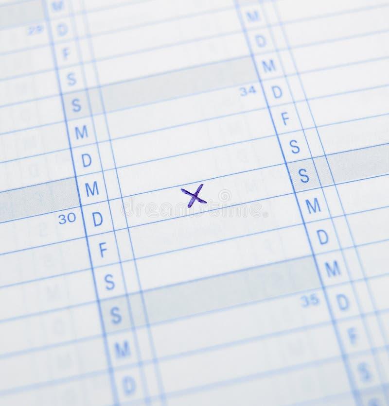 Croix sur le calendrier photo libre de droits