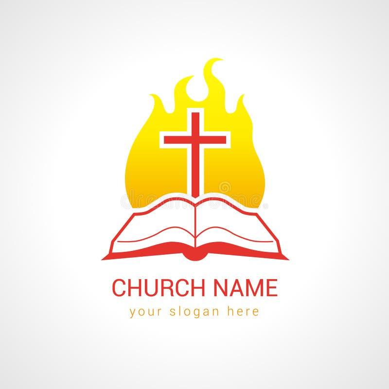 Croix sur le logo d'église de bible de flamme illustration stock