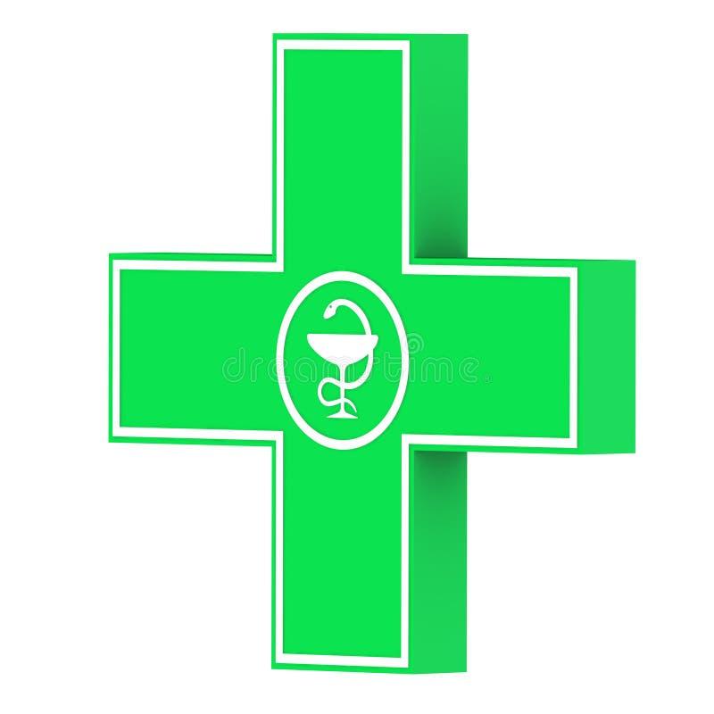 Croix verte de pharmacie illustration stock
