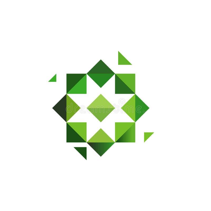 Croix verte, logotype d'herbes Étoile octogonale, symbole musulman, conception géométrique peu commune de logo Illustration de ve illustration libre de droits