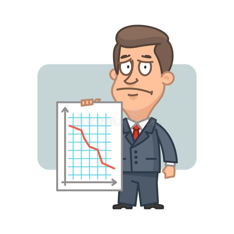 Crollo del grafico della tenuta dell'uomo d'affari del carattere illustrazione di stock