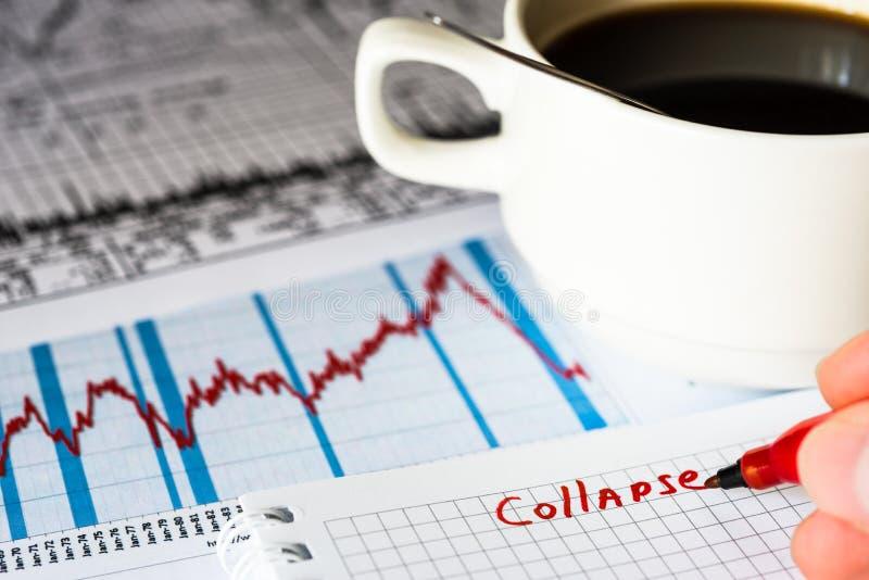Crollo del mercato azionario, analisi dei dati del mercato immagine stock