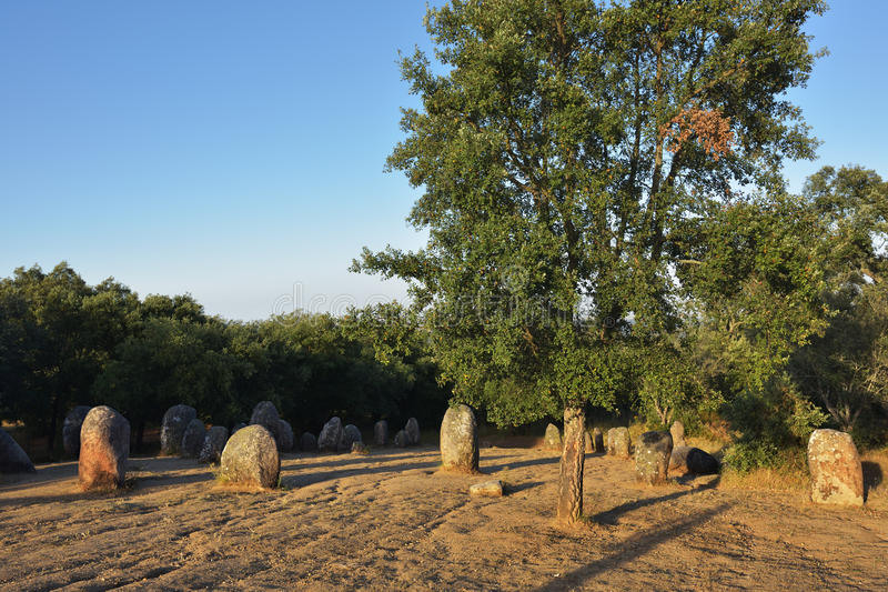 Cromeleque dos Almendres, Portugal. Megalithic culture. Alignment of neolithic stones in Cromeleque dos Almendres, Alentejo, Evora, Portugal stock photography