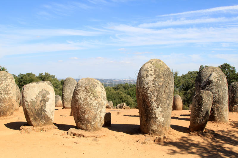 Cromeleques of Almendres near Evora, Portugal. Cromelech of Almendres is the biggest structured group of dolmens in Iberia, and one of the most important in royalty free stock photos