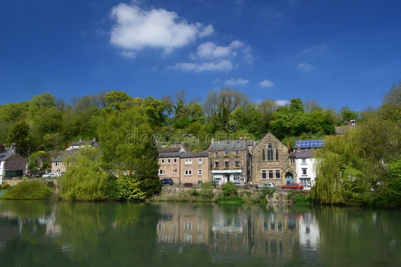 Cromford池塘在一个可爱的晴天 库存照片