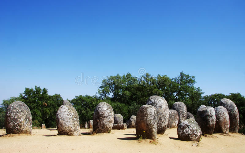 Cromlech of the Almendres megalithic complex royalty free stock photography