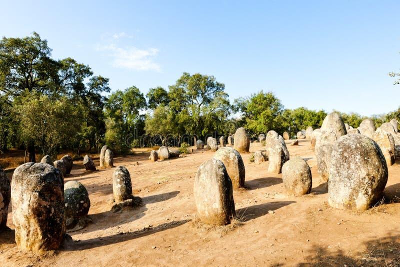Cromlech of Almendres near Evora, Alentejo, Portugal stock photo