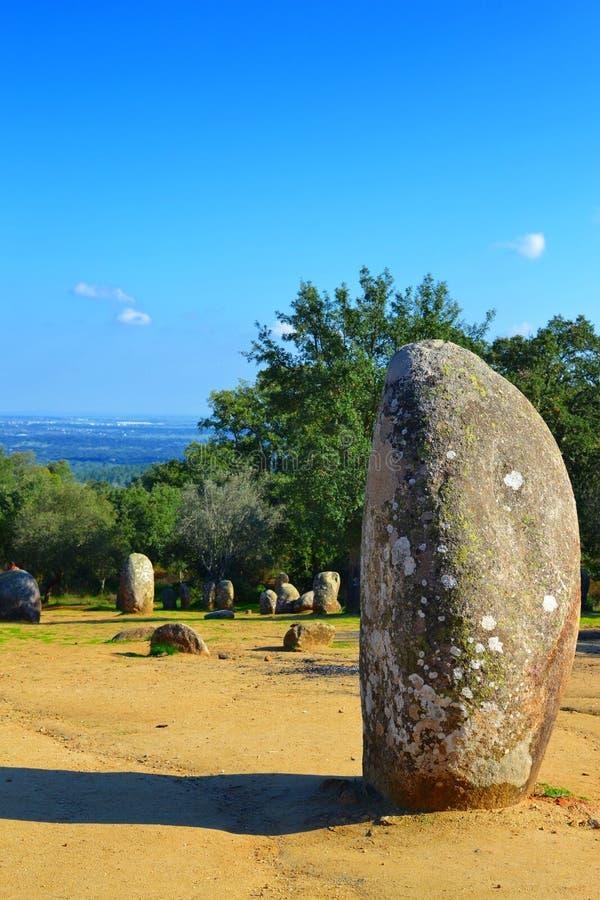 Cromlech del menhir de Almendres imagen de archivo libre de regalías