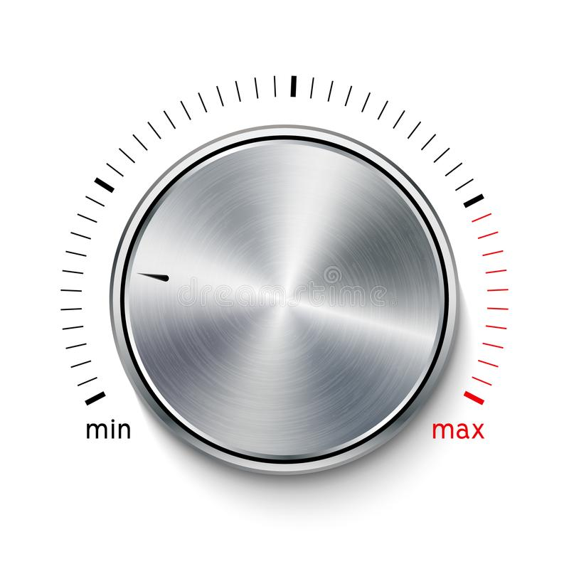 Cromo del acero de la textura del metal del botón del volumen Nivel de sonido del botón de la música Interfaz del sintonizador de stock de ilustración