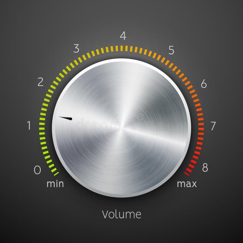 Cromo del acero de la textura del metal del botón del volumen Nivel de sonido del botón de la música Interfaz del sintonizador de libre illustration