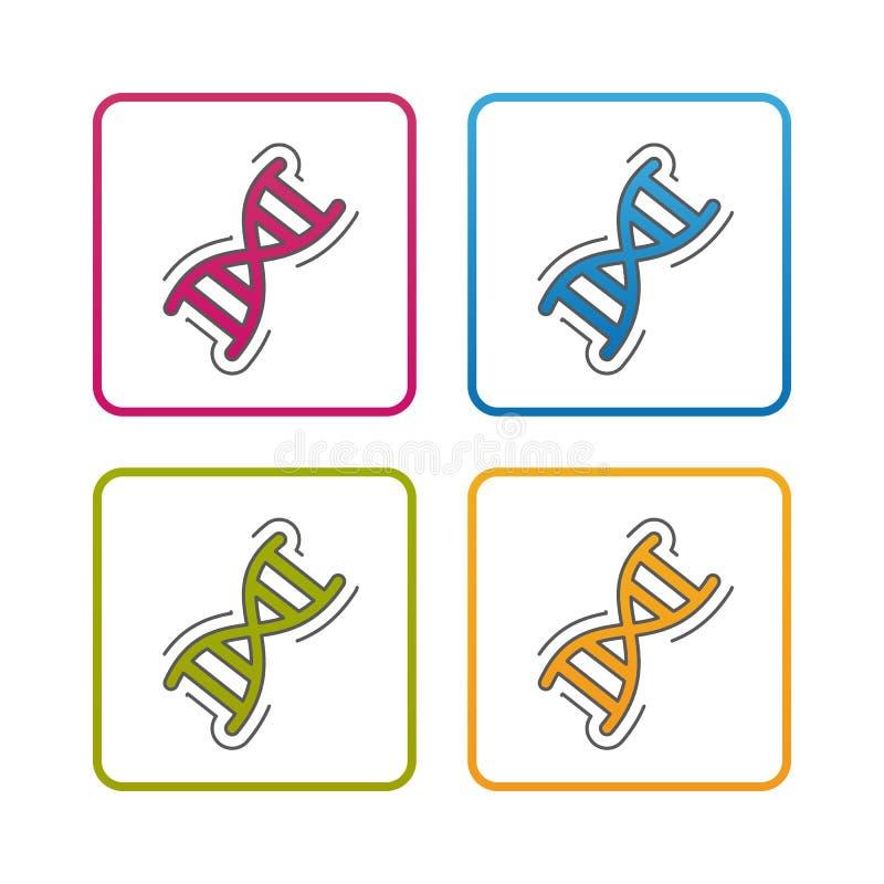 Cromosoma de la DNA - esquema diseñó el icono - movimiento Editable - ejemplo colorido del vector - aislado en el fondo blanco libre illustration